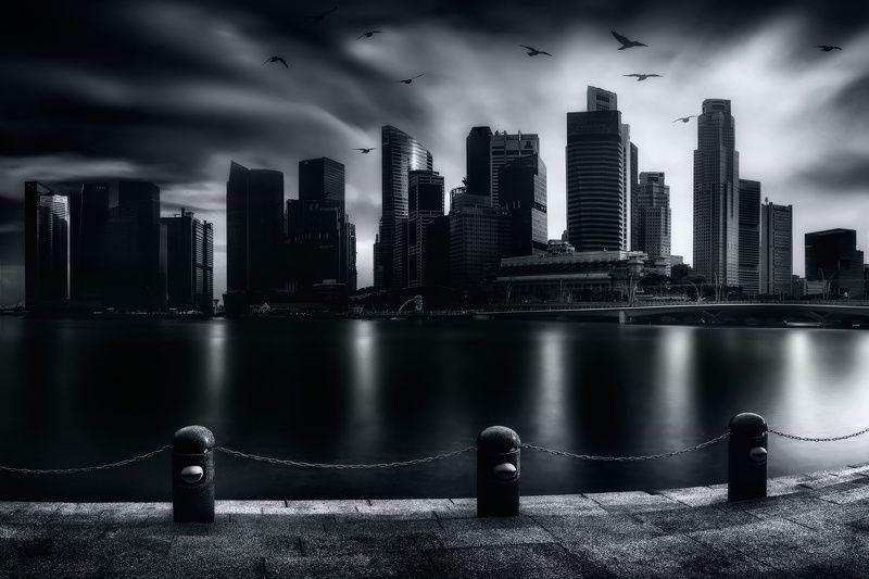 чб, город, городской пейзаж, сингапур Непогодаphoto preview