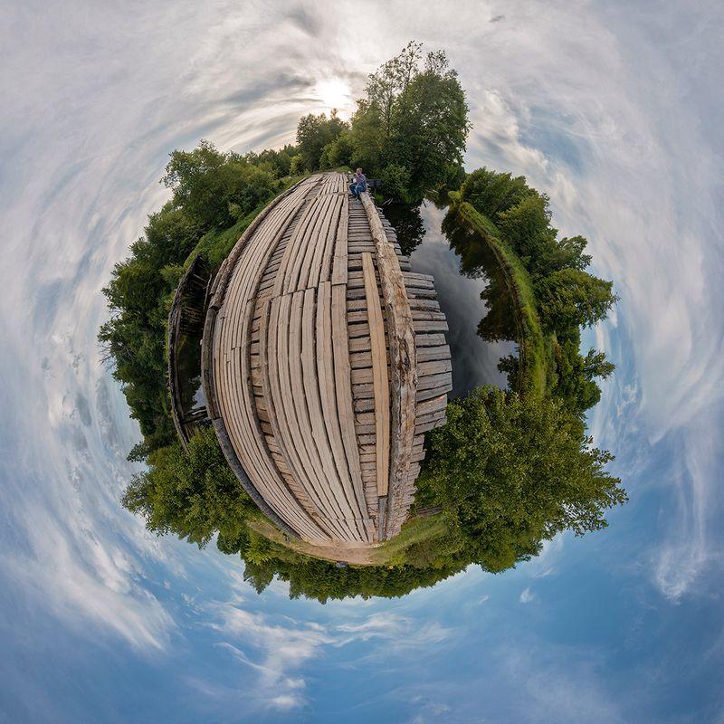 деревянный мост, лесная река, небо, облака, лес, мещёра, рязанская область Планета Мещёра... ;)photo preview