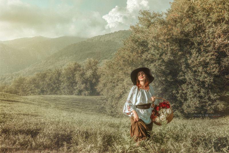 девушка поле чайные плантации платье цветы корзина природа русь Селянкаphoto preview