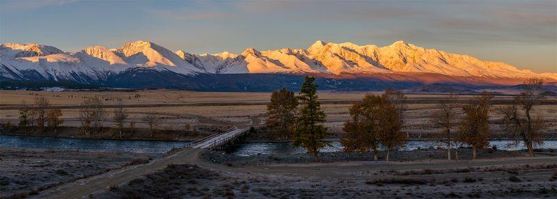 природа, пейзаж, алтай, горы, осень, река, чуя, панорама, сибирь, степь, вершины, хребет, курай, утро, восход, рассвет, мост *photo preview