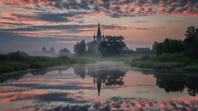 утро, рассвет, природа, туман, река, дунилово Магия отраженийphoto preview