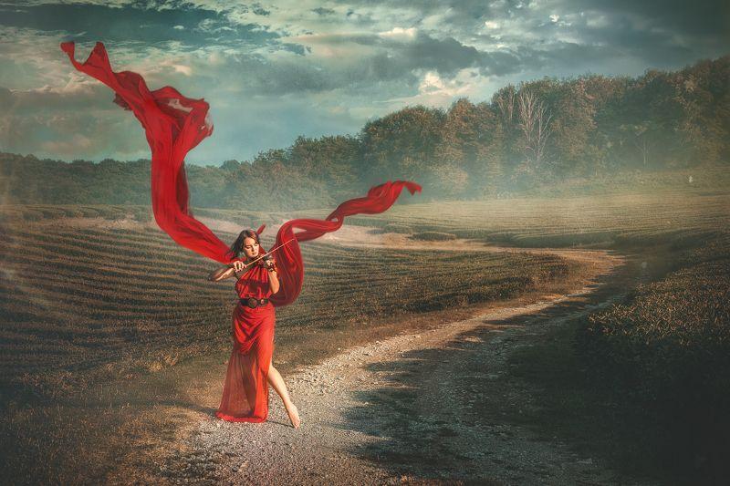 девушка скрипачка скрипка красная ткань платье играет дорога пейзаж закат Скрипачкаphoto preview