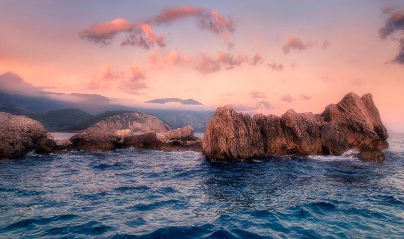 пейзаж,море,скалы,вечер,закат Закат.photo preview