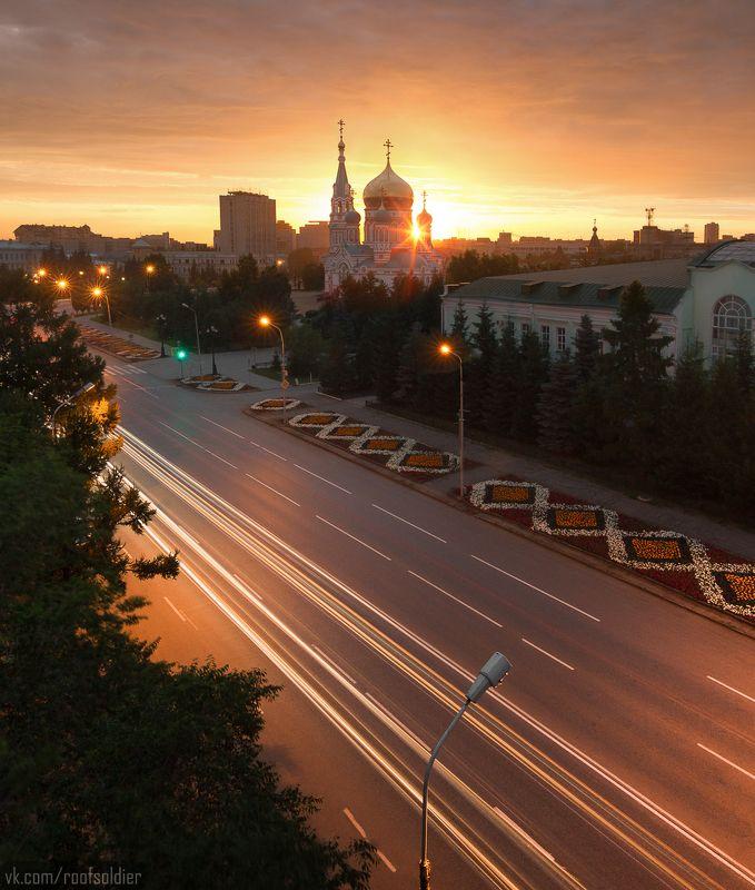 Омск, Россия, крыша, выдержка, храм, город, закат Столица закатовphoto preview