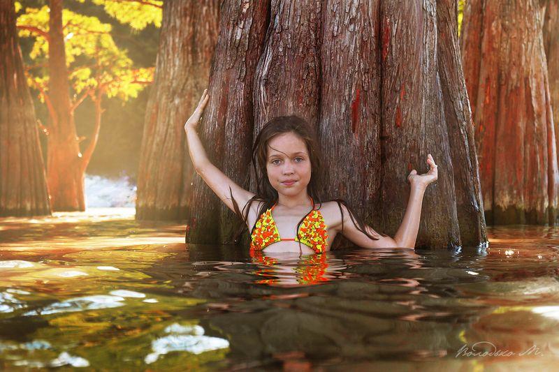 озеро,кипарис,девочка Кипарисовое озероphoto preview