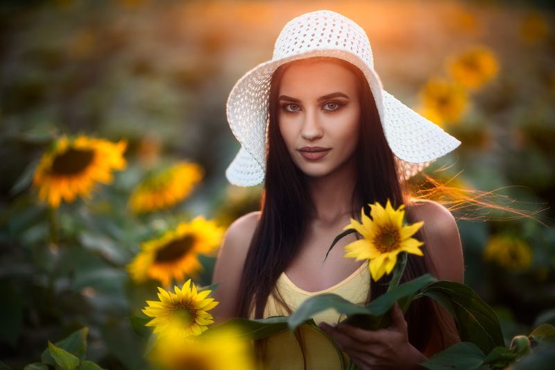 beautiful, people, wavy, hair, wearing, flowers, fujioka, sundress, baby flower, long hair, summer, straw, hat head, cocked, beauty, beauty in nature, sunflower, sunset, Portrait of P. with Sunflowersphoto preview