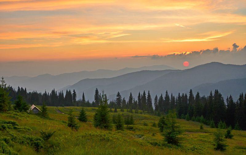 карпаты, горы, мармаросский массив, вечер, закат, туман Солнце за горы садилось...photo preview