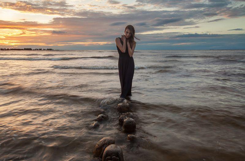портрет, лето, закат, море Катяphoto preview