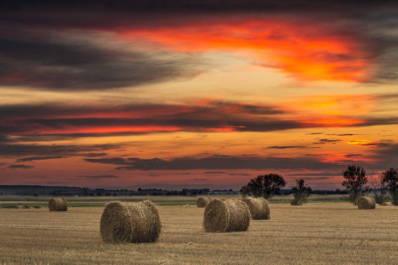 landscape, poland, hay, sunset Harvest timephoto preview