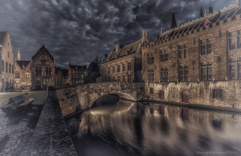 1608 год, old brugge, город, брюгге, бельгия, канал, вечер, ночь Старый Брюггеphoto preview