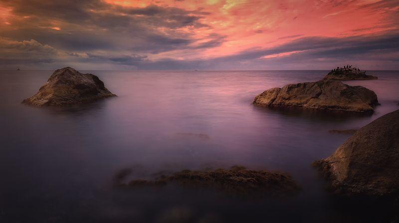 крым, черное море, природа, море, лето, вечер, закат, свет На мореphoto preview