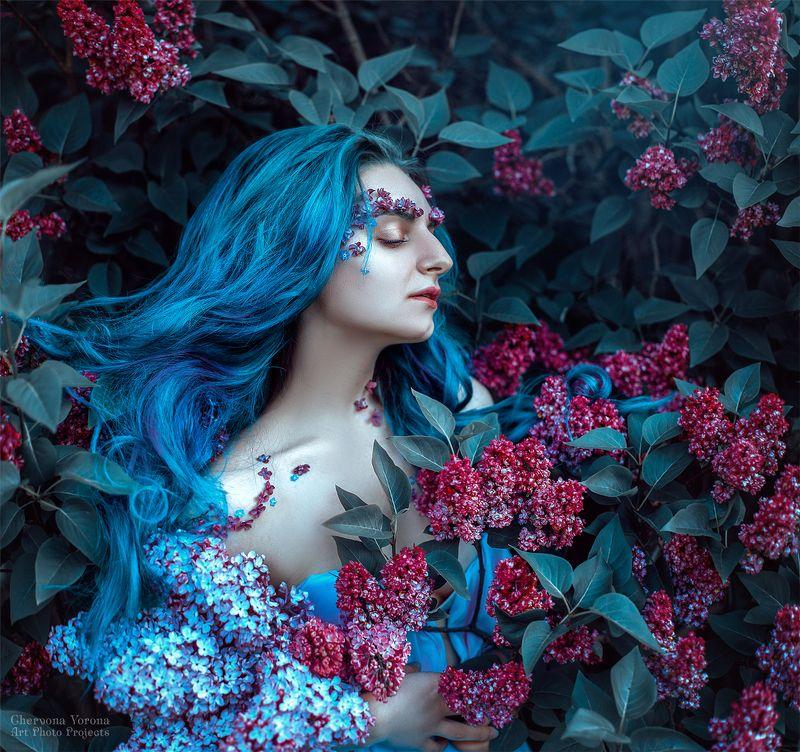 сирень, портет, цветы, голубые волосы Annaphoto preview