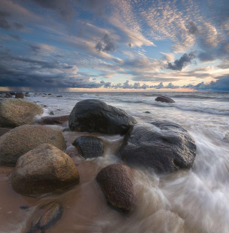 панорама пейзаж море закат латвия Stormy sunset @ Saulkrasti beachphoto preview