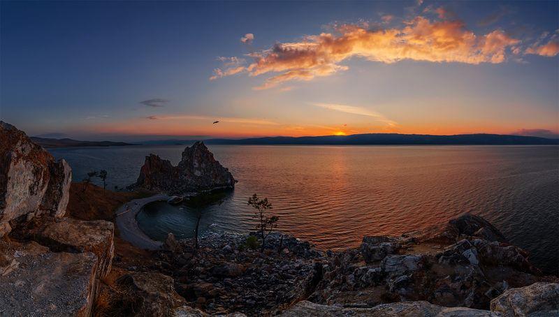 природа, пейзаж, озеро, байкал, сибирь, остров, ольхон, дождь, лето, панорам, закат, вечер, *photo preview