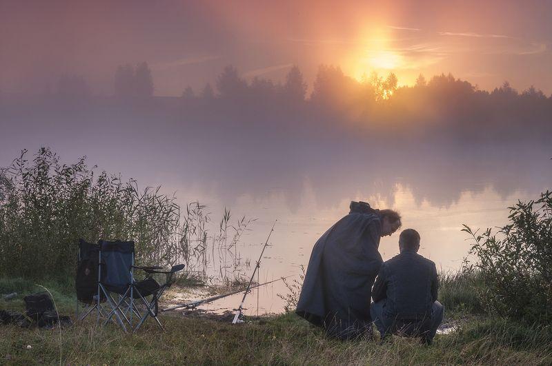 пейзаж,лето,река,туман,рассвет,рыбалка,россия,солнце  Рыбалка в утреннем тумане!photo preview