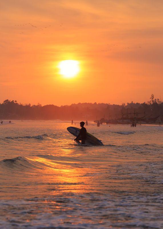 шри-ланка, велигама, закат, спот, серфинг, лето уходит) Закат на Велигаме.photo preview