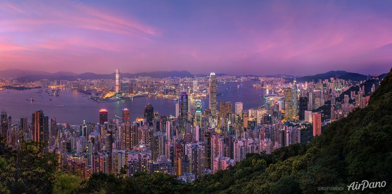 City, Sunset,  Sunset over Hongkongphoto preview