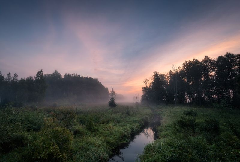poland podlasie sky clouds sunrise dawn outdoor summer mood river mist fog Magic is all around...photo preview