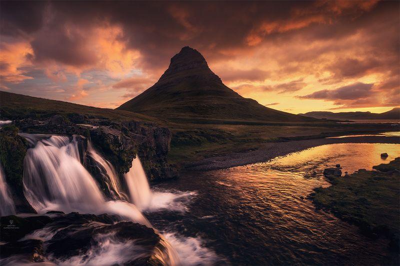 пейзаж, природа, рассвет, облака, исландия Пламя горы Киркьюфеллphoto preview
