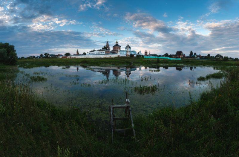россия, московская область, коломна, старое бобренево, монастырь, церковь, вечер, закат, сумерки, природа, пейзаж, пруд, отражениеда, пейзаж, пруд, отражение Старое Бобреневоphoto preview