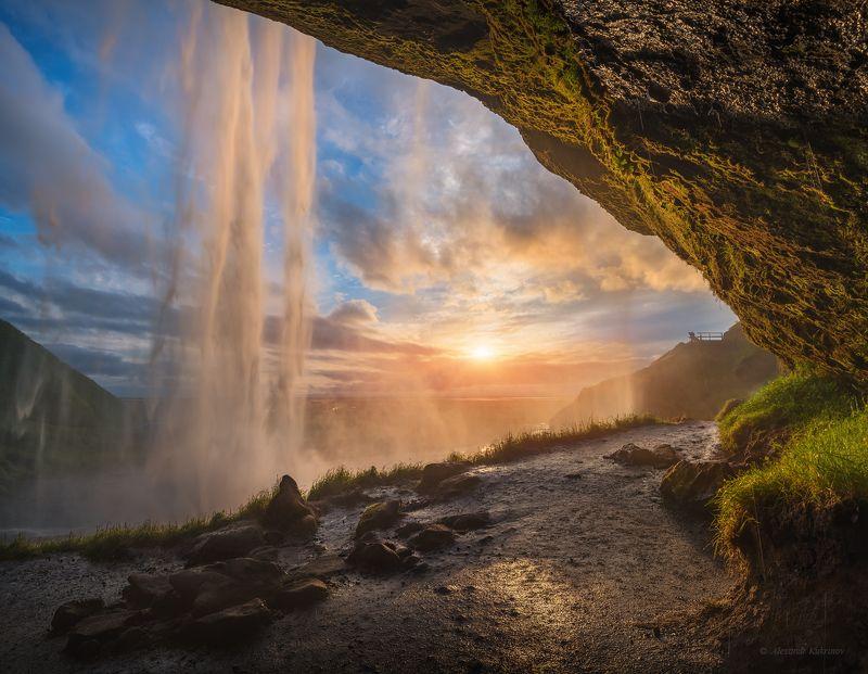 исландия, путешествия, закат, пейзаж, водопад, сельяландсфосс, island, travel Золотой Сельяландсфосс...photo preview