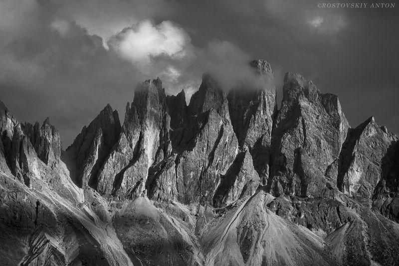Альпы, Доломиты, фототур, вечер, закат, ч/б, Италия,  вечер в горахphoto preview