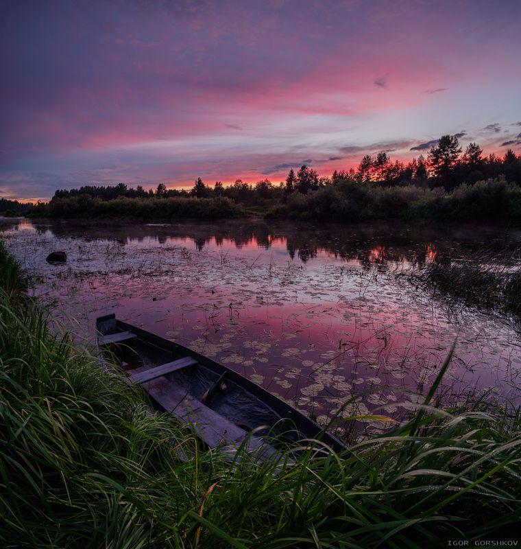 молога,река,закат,лодка,пейзаж,природа,небо,тучи,отражения,берег,трава, Вечер на рекеphoto preview