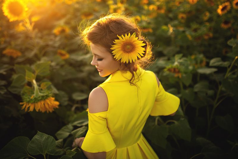 девушка, портрет, закат, подсолнух, лето, желтый, цветы, цвет Настяphoto preview
