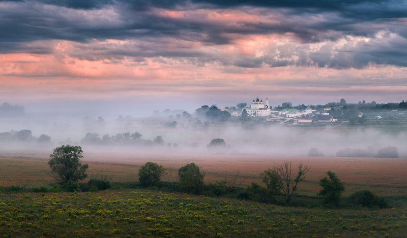 рассвет, природа, река, утро, река, туман Парящийphoto preview