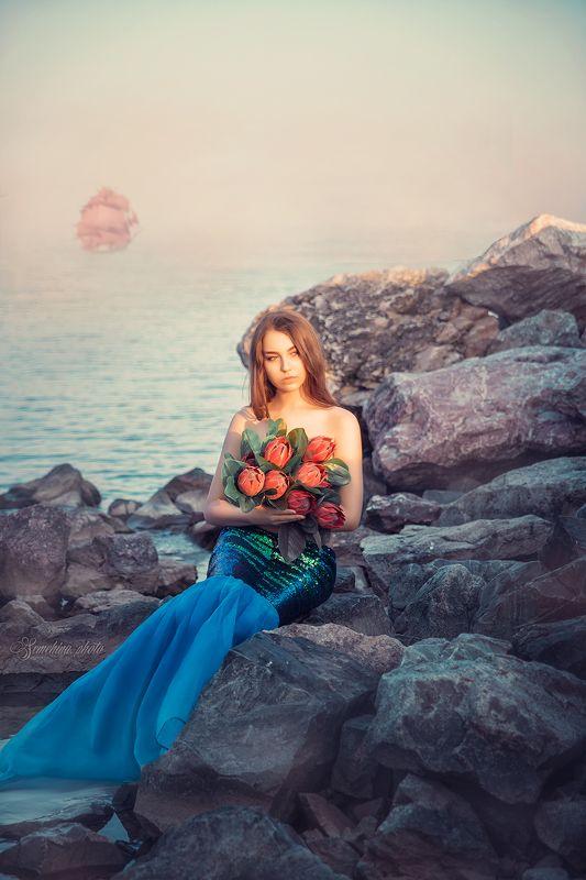 девушка, портрет, русалка, лето, фантазия, girl, portreit, murmaid, summer, fantasy photo preview