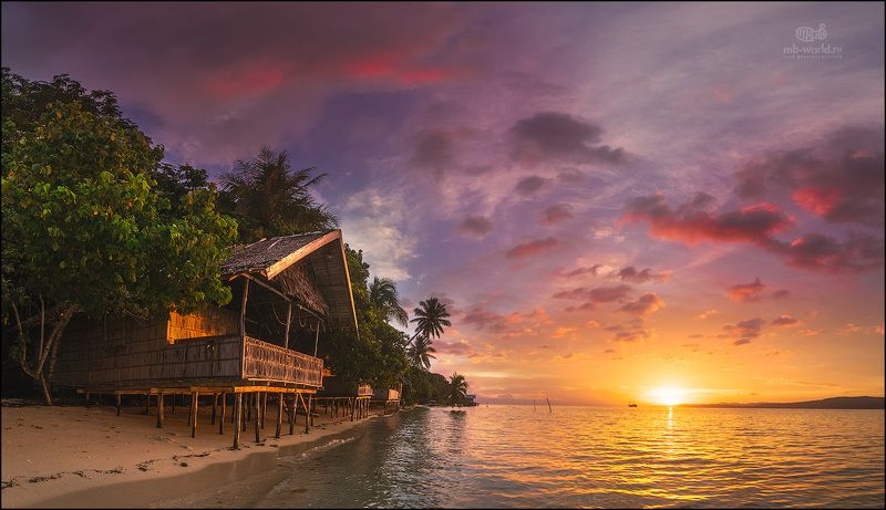 Индонезия, Папуа, закат, пляж, острова Закат на Раджа Ампатphoto preview
