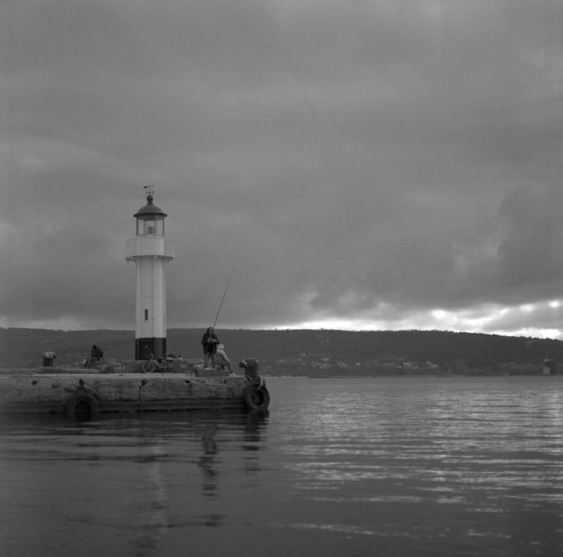 hasselblad, black, white, b&w, film, lighthouse, sea, dusk Fishermanphoto preview