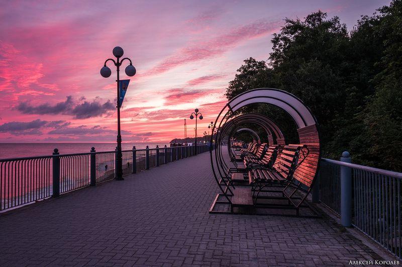 калининградская область, россия, светлогорск, балтийское море, рассвет, пейзаж, море, набережная, лето, kaliningrad region, russia, svetlogorsk, baltic sea, dawn, sea, promenade, summer Pink Shinephoto preview