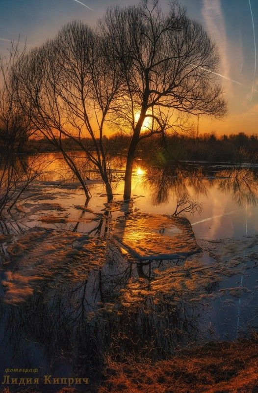 пейзаж, весна, половодье, вешние воды, времена года, вечер, на закате, вечер, смоленская область, весенний вечер, отражение, река, озеро, лед тает, льдины, ледоход, синий вечер, То было раннею веснойphoto preview