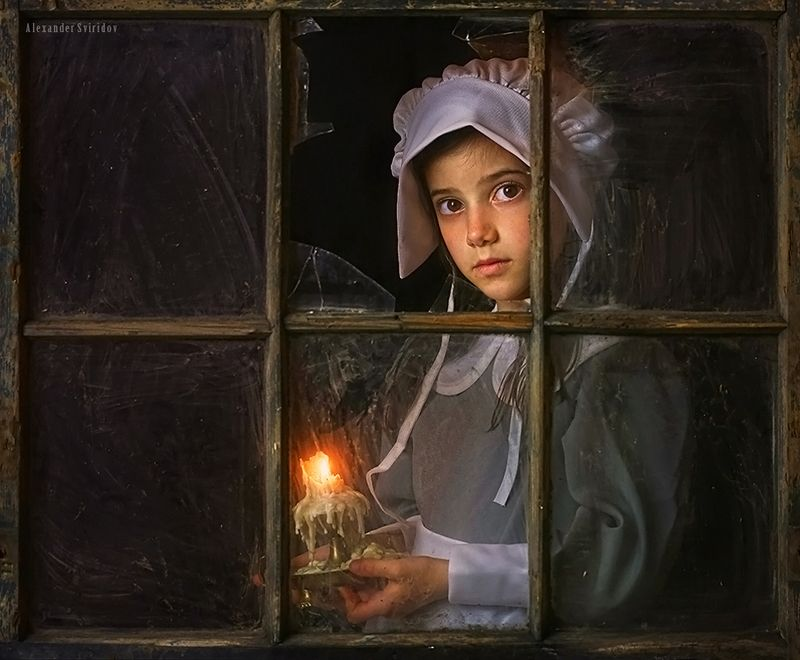 pilgrim portrait girl window candle The Pilgrim Girlphoto preview