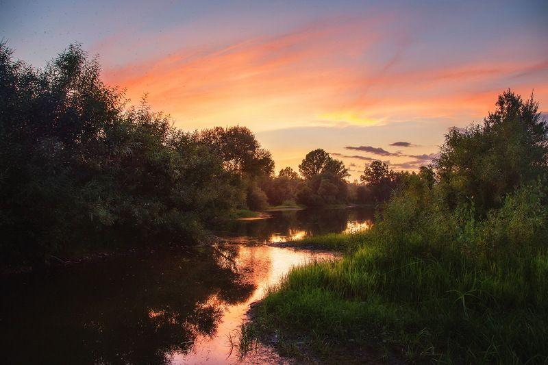 сибирь, природа, пейзажи, лето, закат, мрассу, томь, Вечерок на берегу реки!photo preview