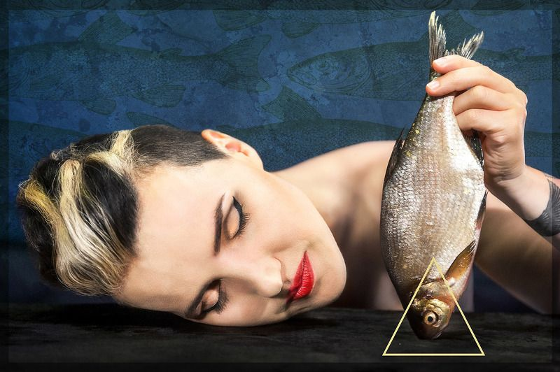 portrait, editorial, fantasy, woman, surrealism, fish, symbolism Dramaturg Gabriele Labanauskaite-Dienaphoto preview