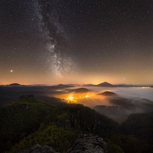 Bohemian Switzerland at night