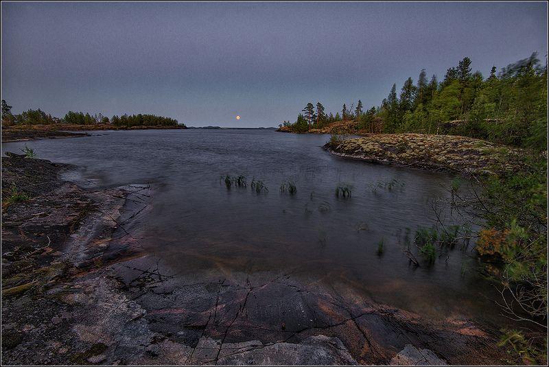 карелия, ладожское озеро, ночь, луна Полнолуниеphoto preview