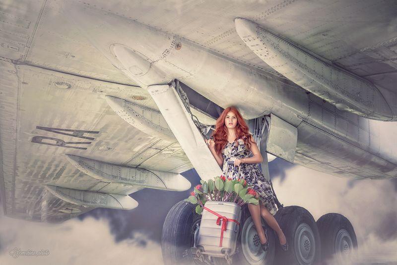 девушка, портрет, самолет, реклама, рыжая, girl, portreit, red hair, airplane photo preview