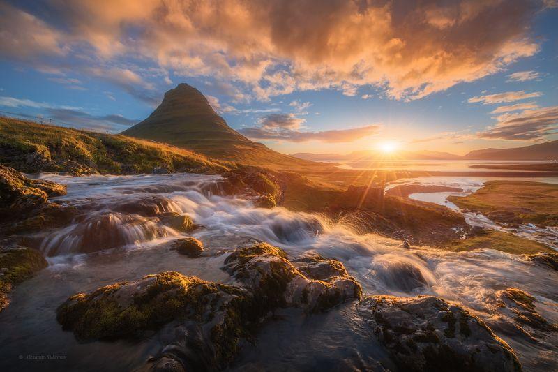 исландия, islend, рассвет, киркьюфетль, kirkjufell Рассвет у вершины Киркьюфетль.photo preview