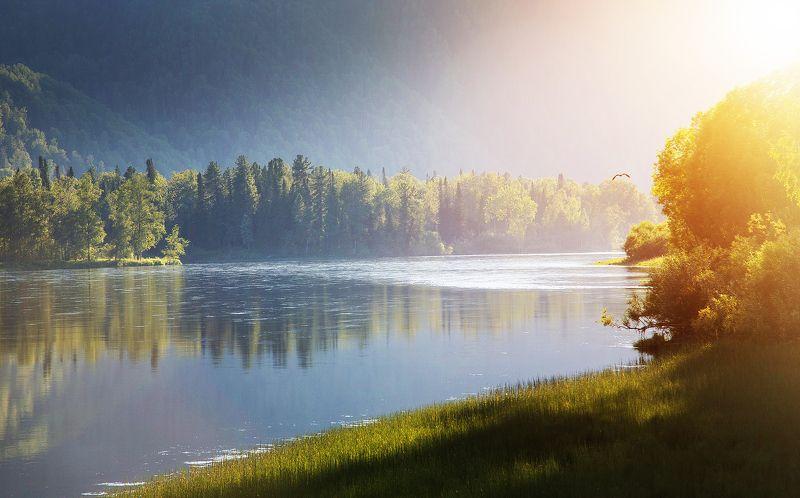 алтай, река бия, вода, природа, пейзаж, закат Вечер на реке Бия. Алтайphoto preview