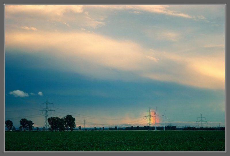 лэп, ветряки, радуга Энергияphoto preview
