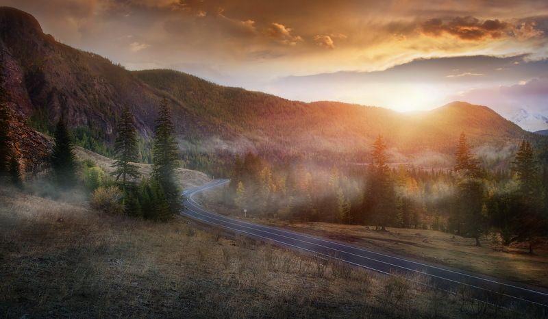 алтай, природа, закат, пейзаж, дорога, путешествие Дорогами Алтая...!photo preview