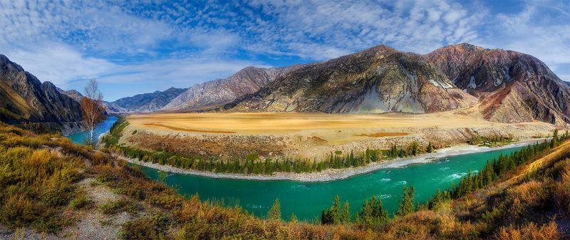 природа, пейзаж,алтай, сибирь, горы, панорама, река, осень, Воды - чистый изумрудphoto preview