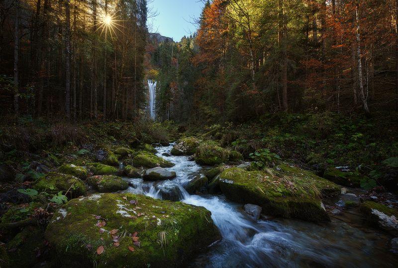 switzerland, waterfall, sunrise, швейцария, водопад, рассвет ***photo preview