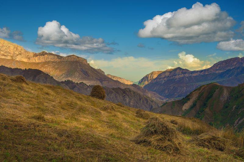 осень,горы,облака,трава, стога Осень в горахphoto preview