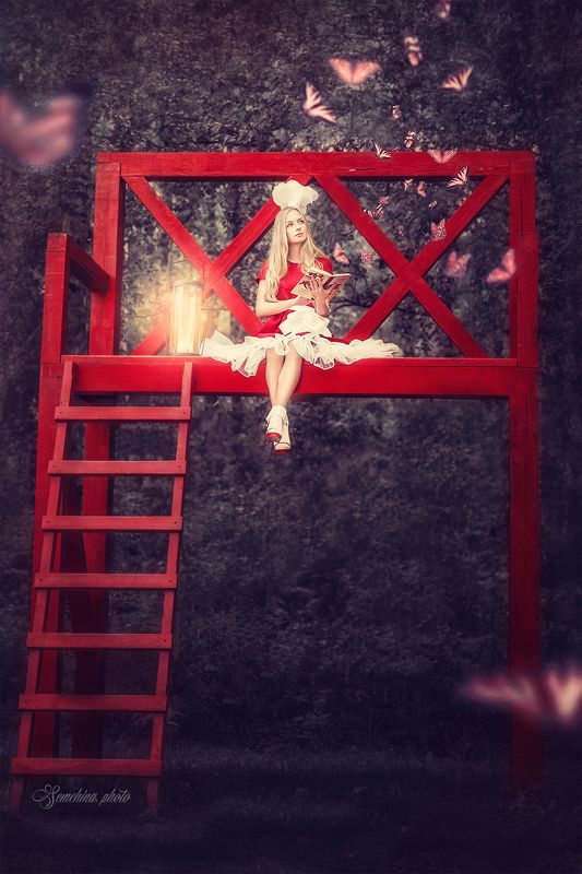 девушка, портрет, красный, арт, girl, portreit, red, art, fairy photo preview