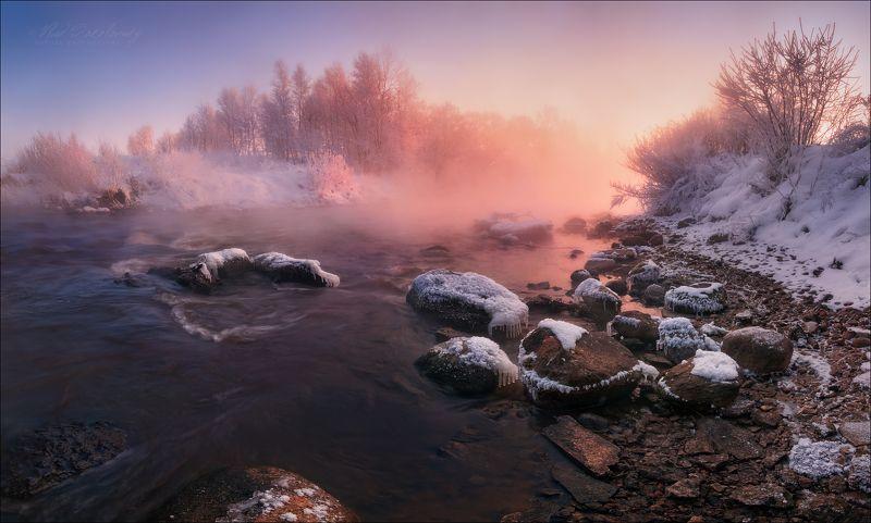 беларусь,минск, зима, мороз, утро, рассвет, река, свислочь, стайки, Фрагмент морозного утра ..photo preview