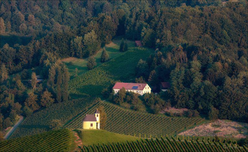 dreisiebner kapelle,лето,свет,часовня,штирия, chapel,гамлитц,австрия,gamlitz- sernau,landscape,панорама. Доброе утро Гамлитцphoto preview